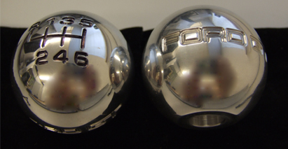 Polished Ford GT shift knob with modified recessed bore